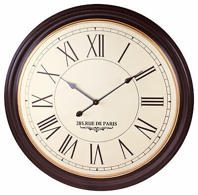Extra Large Roman Numeral Wall Clock 80cm Round Kitchen Living Home Wooden Style