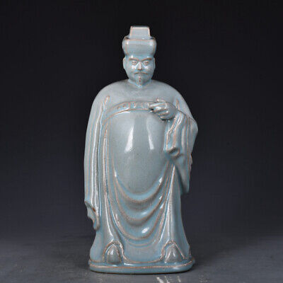 """12.2"""" Chinese Rare Old Antique Porcelain song ru kiln character Ceramics Statue"""