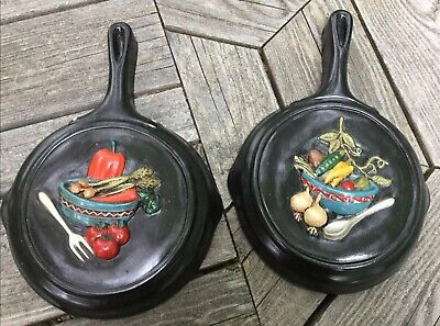 Two Hand Painted Ceramic Cast Iron Looking Fry Pans ~ Wall Art From 1974