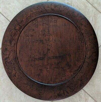 Vintage 24 Inch Wood 2 peace Carved Oval Medieval Monks at Tavern with Hound Art