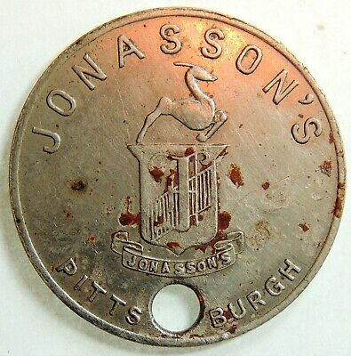 Jonasson's  Pittsburg  Pa   Charge Coin  Tyl  Pa-765-Jonb
