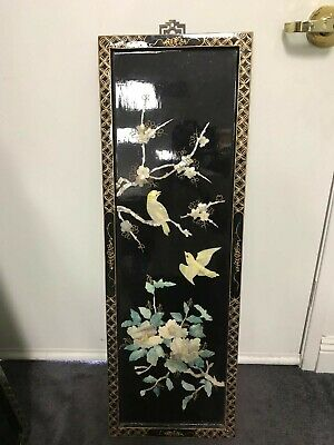 Vintage Asian Black Lacquer Wall Panel Mother Of Pearls Hand Crafted