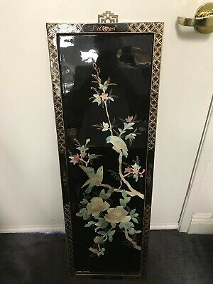 Vtg Black Lacquer Wall Panel Hand Crafted with Mother Of Pearls Made in China
