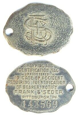 Frank  &  Seder  Co. Pitttsburgh Pa   Credit   Charge Coin    Tyl #  Pa-765-Fasb