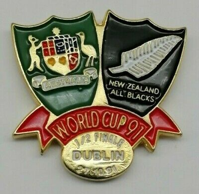 Australia v New Zealand All Blacks 1991 Rugby World Cup Semi-Final RWC Pin Badge