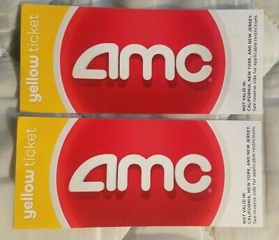 AMC Theatres Yellow Ticket Lot (2) Not Valid in NY NJ or CA. No Expiration Date.