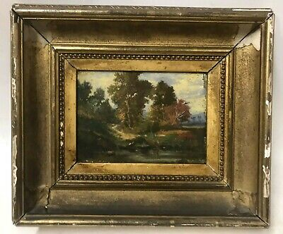 Antique American Hudson River School Signed Fall Landscape Painting & Cove Frame