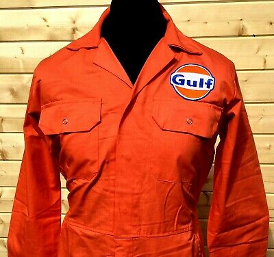 """Rare Top Quality Goodwood Revival McQueen Gulf Badge Orange Overalls 54"""" Chest"""