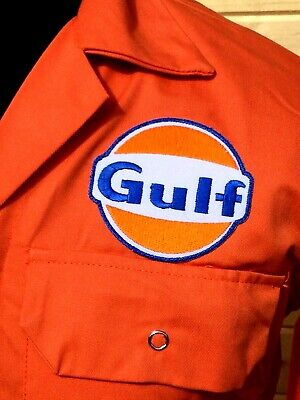 """Rare Top Quality Goodwood Revival McQueen Gulf Badged Orange Overalls 38"""" Chest"""