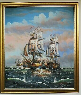 Very Large Oil Painting Antique Galleon Battle Ships on A Turbulent High Seas