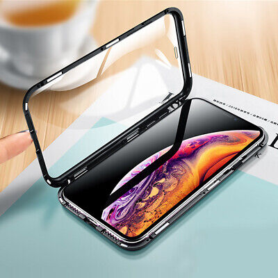 Magnetic Metal Tempered 360° Glass Case For iphone 11 pro X XR XS Max 7 Plus