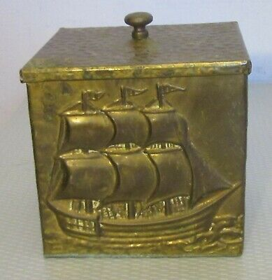"""antique hand hammered BRASS SAILING SHIP TEA CADDY TOBACCO BOX tin lined 5"""""""