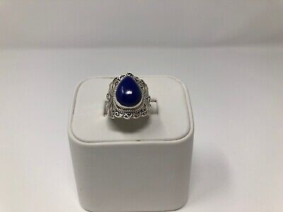 Sterling Silver with Blue Lapis Ring, size 6.75