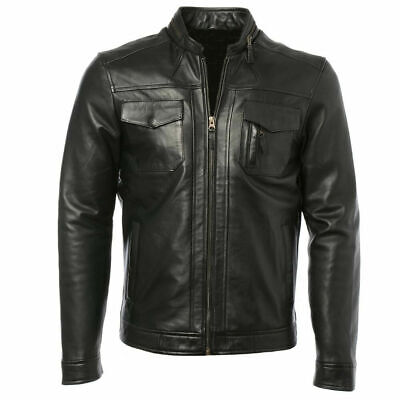 Men's Biker Jacket Motorcycle Waxed Real Leather Retro Casual Masculine Design