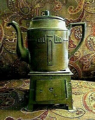 1900c > Brass Platform Footed Kerosene Stove WITH Long Spout Lidded Kettle