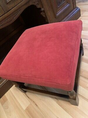 Antique Oak Red Footstool