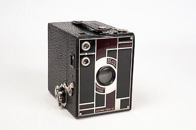 kodak Beau Brownie No. 2 Black and Burgundy face plate color Art Deco