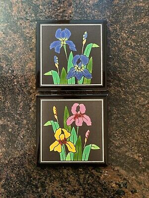 "2-Art Tile Besheer Handpainted Ceramic Trivet Wall Hanging Floral 6"" Bedford NH"
