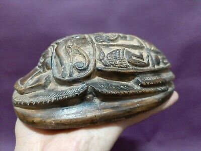 ANCIENT EGYPTIAN ANTIQUES Scarab Beetle Khepri Figure Good Luck Egypt Stone BC