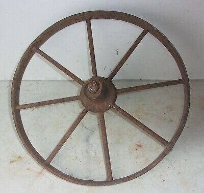 "Antique Primitive Cast Iron Industrial Wagon Wheel Steampunk 14 1/2"" Diameter"