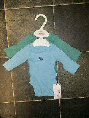 BRAND NEW M&S TINY BABY 6lb6oz 2.8kg PACK OF TWO BABYGROWS - BABY BOY BLUE/GREEN