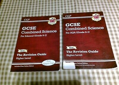 2 CGP COMBINED SCIENCE GCSE REVISION GUIDES for AQA +Edexcel (grade 9-1).