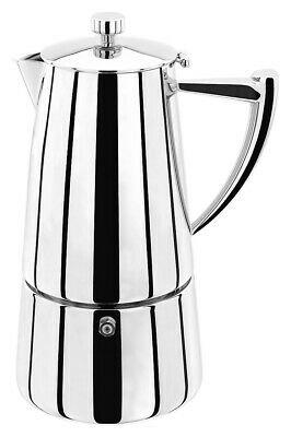 STELLAR Art Deco Hob Top 10 Cup (600ml) Espresso Maker/Cafetiere - Polished