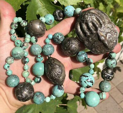 HUGE Old Chinese Spiderweb Turquoise & Silver BAT & DRAGON Bead Necklace 207.4g