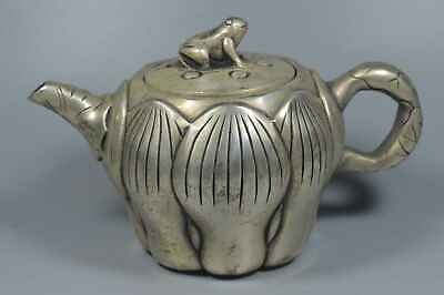 Collectable Handwork Old Miao Silver Carve Lotus Lucky Exorcism Frog Lid Tea Pot