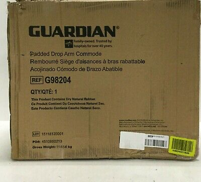 Guardian Padded Drop Arm Bedside Medical Over Toilet Seat Chair Commode G98204