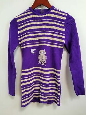 Vintage 1970's Full Fashion Girl's Striped Pullover Novelty Sweater Size 12