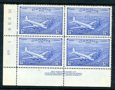 Weeda Canada CE4 VF MNH LL plate #1 block, 17c Special Delivery Airmail CV $45