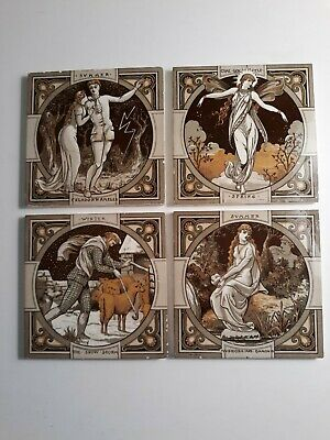 J. Moyr Smit, Minton pottery,England set of 4 seasons tiles