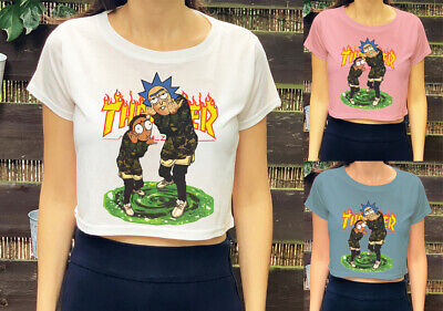 Rick And Morty Thrasher Inspired  Print Trendy Geek Kids Girls Womens Crop Top
