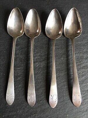 Antique Set Of Four Georgian Solid Sterling Silver Scottish Grapefruit Spoons