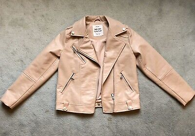 Girls Pale Pink Faux Leather Pleather PVC Jacket Zara 10 Years
