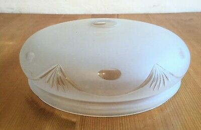 Vintage Frosted White Glass Light Lamp Shade, Cut Decoration