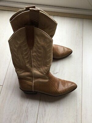 CALAMEX Made In Mexico LADIES BEAUTIFUL TAN BROWN LEATHER COWBOY BOOTS UK 6  /39