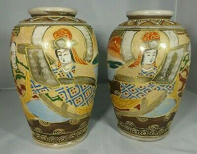 Vintage Antique Pair Of Satsuma Vases Hand Painted With Gilding Made In Japan