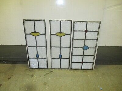 5 Reclaimed Leaded Light Art Deco Door Panels Stained Glass Window Victorian