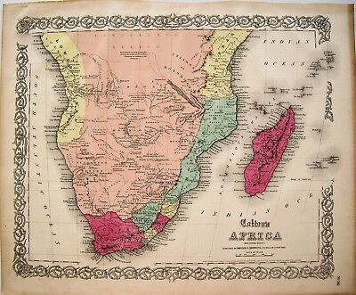 3 Antique Maps of Africa: Original Hand Colored Engraved Maps: Colton, 1855
