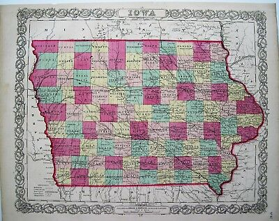 Colton 1855 Map Of Iowa: Original Engraved Map; 16X14