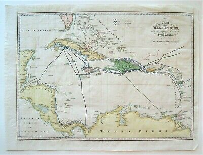 Antique West Indies Map; Christopher Columbus's Four Voyages: Hand Colored: 1828