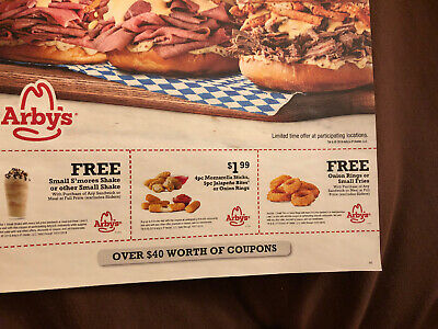 3 SHEETS Arby's Coupons, Worth Over $40.00, Expire 10-31-19