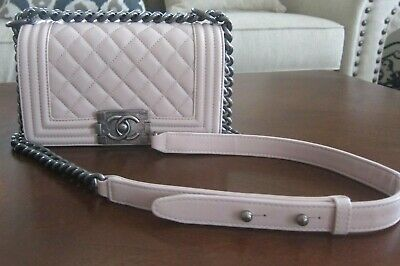 Brand New Authentic Chanel Light Pink Quilted Leather Cross Body Bag / Flap Bag
