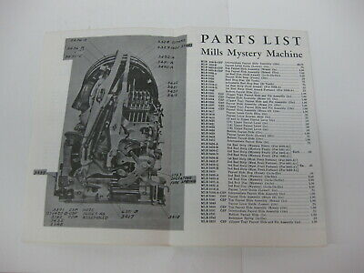 Mills slot machine manual & parts list - 1931 through late 50's -