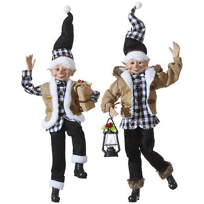 RAZ Imports Posable Elves Christmas in the Country - Set of 2 Assorted - 16 inch