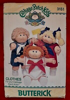 Cabbage Patch Sailor Kid Butterick Pattern #3151,1985. 1984 Transfers All Uncut