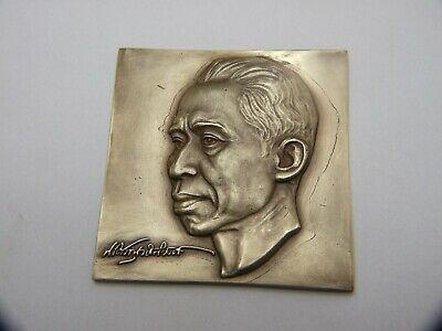 Vintage Asian Indonesian Bronze Head Small Historical Famous Person Signed