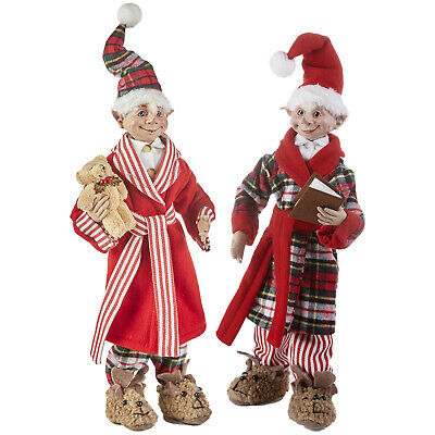 RAZ Imports Posable Christmas Elves Ready for Bed in Pajamas Set of 2 - 16 inch